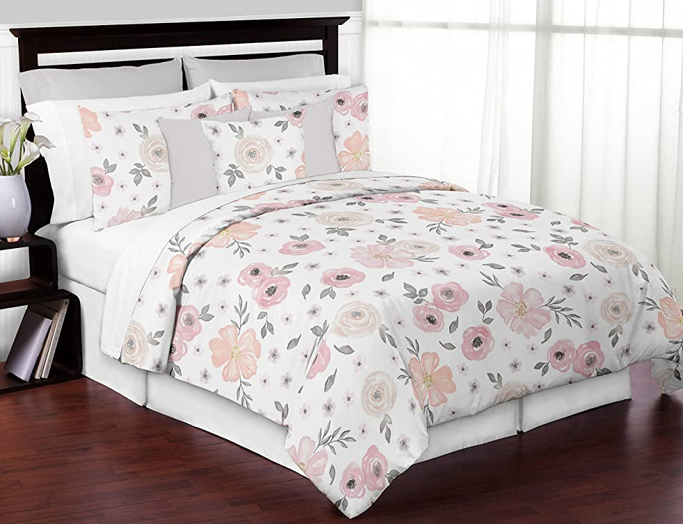 Sweet Jojo Designs 3-Piece Blush Pink, Grey and White Shabby Chic Watercolor Floral Girl Full/Queen Kid Childrens Bedding Comforter Set - Rose Flower (B074MBS5Q2)