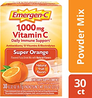 Emergen-C (30 Count, Super Orange Flavor, 1 Month Supply) Dietary Supplement Fizzy Drink Mix with 1000mg Vitamin C, 0.32 Ounce Powder Packets, Caffeine Free