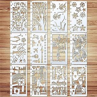 VETPW 12 Pièces Mixte Pochoir Dessin Peinture, Bullet Journal Pochoir, Pochoir à Dessin Réutilisable Plastique Pochoir Fle...
