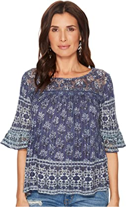 Lucky Brand Blue and White Top