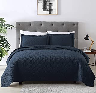 EXQ Home Quilt Set Twin Size Navy 2 Piece,Lightweight Microfiber Coverlet Modern Style Squares Pattern Bedspread Set