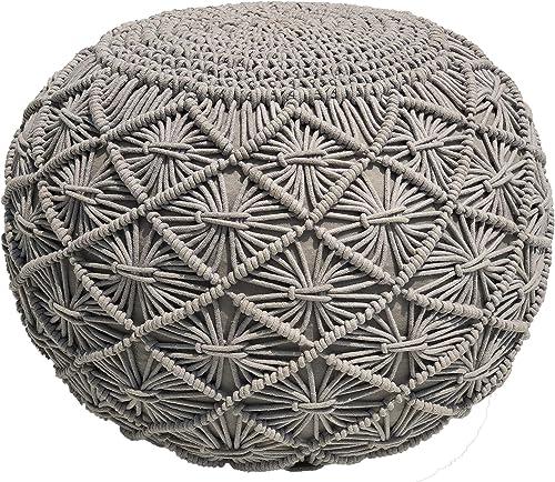 Casa Platino - Puf | Otomana de punto a mano, estilo Dori Puf Macramé Puf | Otomana | Cordón trenzado de algodón | He...