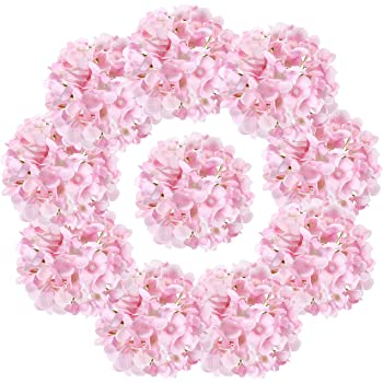 LUSHIDI 10PCS Silk Hydrangea Heads with Stems Artificial Flowers for Wedding Party Home Decor (Pink)