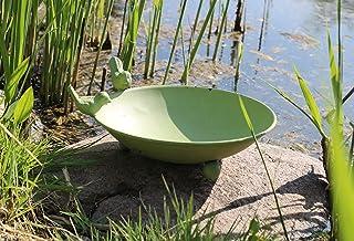 AmaCasa Bebedero para pájaros, baño para pájaros, bebedero de agua, cuenco de agua de metal (verde)