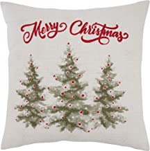 """Saro Lifestyle Nadalia Collection Merry Christmas Trees Design Throw Pillow With Poly Filling, 18"""", Natural"""