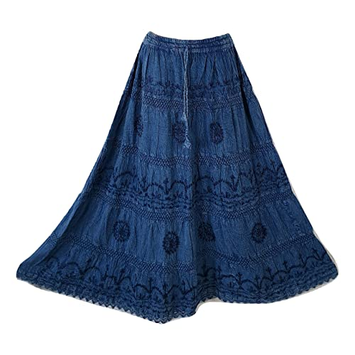 8e353d27b2 Doorwaytofashion Cotton and Lace Embroidered Peasant Gypsy Boho Casual  Festival Summer Skirt UK One Size 10