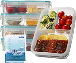 Komax Biokips Set-of-5 Bento Lunch Box | 37-oz Meal Prep Containers Microwavable | 3 Compartment Divided Lunch Containers...