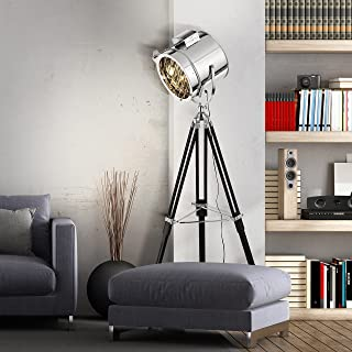 Lampadaire exclusif au design industriel, trépied avec pieds en bois, h 175cm, Ø 45cm, 1x ...