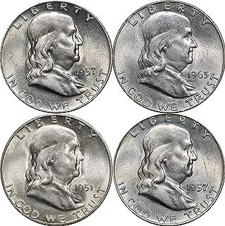 1948-1963 Franklin Silver Half Dollars, 2 Face, 4 Coins, Random Years AU-BU