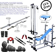 GoFiTPrO- PHELIX 20 in 1 Bench Double Support (Silver Colour)+ 100 KG Rubber Weight + 5FT Plain Rod (25 mm) and 3 FT CURL Rod (20 mm)