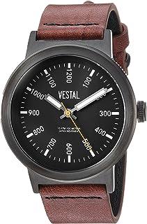 ساعة فيستال ريترو فوكاس للرجال ستانلس ستيل كواترز مع حزام جلدي، بني، 22 موديل (SLR443L03.BRBK)