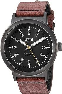 Vestal Men's Retrofocus Stainless Steel Japanese-Quartz Watch with Leather Strap, Brown, 22 (Model: SLR443L03.BRBK)
