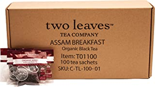 Two Leaves and a Bud Organic Assam Black Tea Bags, Organic Whole Leaf Full Caffeine Black Tea in Pyramid Sachet Bags, Delicious Hot or Iced with Milk, Sugar, Honey or Plain, 100 Count