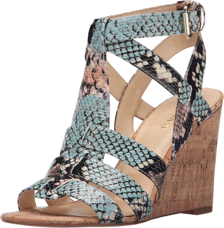 Nine West Womens Farfalla Synthetic Wedge Sandal