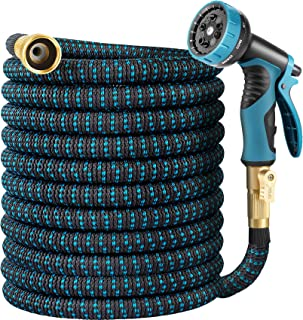 HARNMOR Expandable Garden Hose 50ft - Flexible Water Hose with 10 Function Nozzle, Double Latex Core and 3/4 Inch Solid Fi...