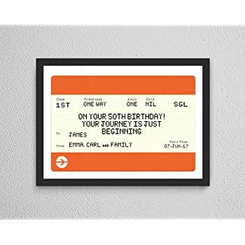 Personalised Wedding Day Gift Train Ticket Style Print Framed ENDORSED