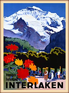 A SLICE IN TIME Interlaken Sonniges Ferienland Bern Switzerland Swiss Alps Vintage Travel Advertisement Art Wall Decor Poster Print. 10 x 13.5 inches