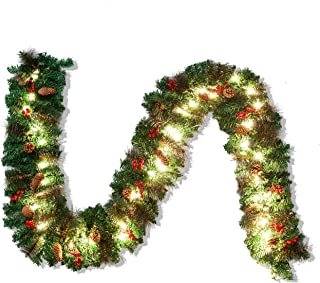 Joiedomi 9Ft Artificial Christmas Garland Prelit with 50 Lights, Bristle, Pine Cones, Red Berries for Best Christmas Decoration