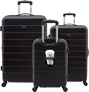 Smart Luggage Set with Cup Holder and USB Port, Black, 3...