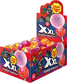 Chupa Chups XXL Bubblegum Filled Fruit Lollipops - Pack of 25 Pieces (25 x 29g)