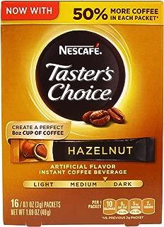 Nescafé, Taster's Choice, Instant Coffee Beverage, Hazelnut, 16 Packets, 0.1 oz (3 g) Each - 2pc