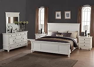 Roundhill Furniture Regitina 016 Bedroom Furniture Set, Queen Bed, Dresser, Mirror and 2 Nightstands, White