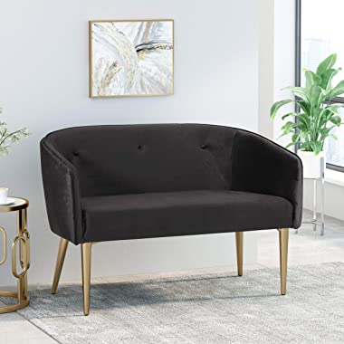 Christopher Knight Home Brayer LOVESEAT, Black + Gold