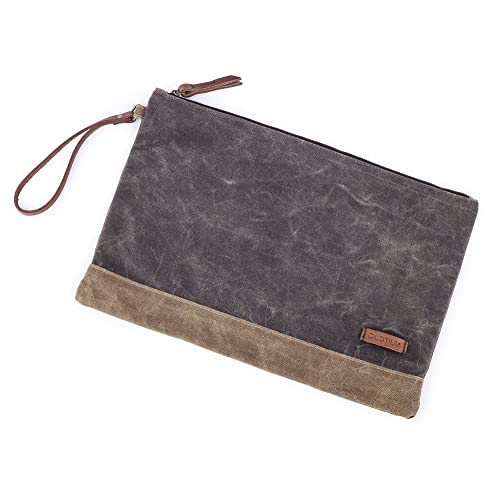 59f6bc4822 Gootium Waxed Canvas Zipper Bag - Water Resistant Multipurpose File Pouch  for Artists and Office