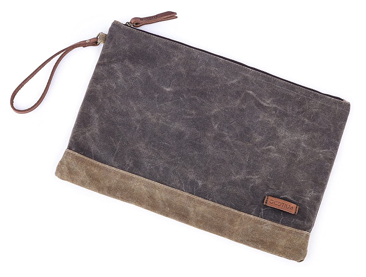 Gootium Waxed Canvas Zipper Bag - Water Resistant Multipurpose File Pouch for Artists and Office, 13