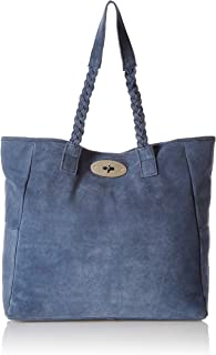 Women's Real Leather Suede Slouchy Tote with Braided Handles