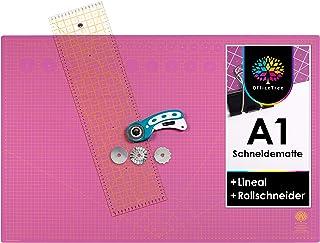 OfficeTree® Set tapis de découpe A1 90 x 60 cm + cutter rotatif + règle 60 x 16 cm – Tapis de découpe auto-réparant – Pour...