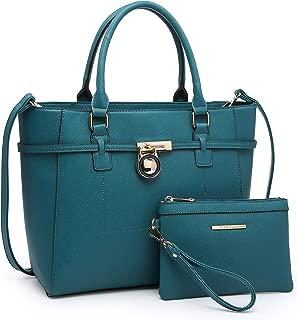 MARCO M KELLY Women Large Top Handle Satchel Padlock Handbags Ladies Shoulder Bags Belted Designer Purses Set Work Bags
