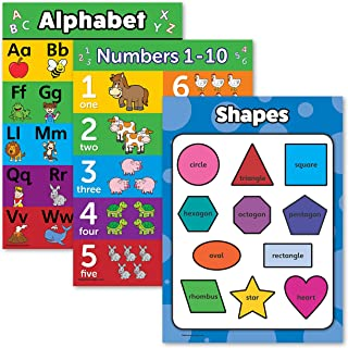"3 Pack - ABC Alphabet + Numbers 1-10 + Shapes Poster Set - Toddler Educational Charts (Laminated, 18"" x 24"")"