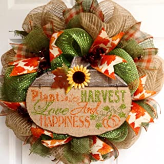 Autumn or Harvest Inspirational Handmade Deco Mesh Wreath 20 Inches