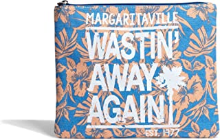 Margaritaville Cosmetic Toiletries Essentials Travel Pouch Womens Girls Wastin Away Again Tropical Hibiscus Blue