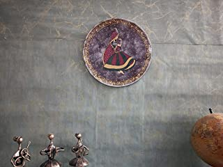 Abani Arts & Crafts Wooden Art Wall décor Plate for Hanging Blue Color Pack of 1 | PLT-TM43