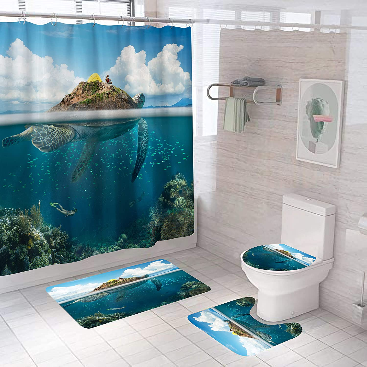 4PCS Sea Turtle Shower All items in the store Set, Popular Bathroom Curtain
