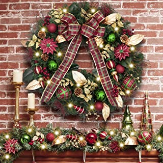 Valery Madelyn Pre-Lit 30 Inch Farmhouse Road Red Green Gold Christmas Wreath for Front Door with Ball Ornaments, Berries, Pine Cones, Ribbons and Flowers, Battery Operated 40 LED Lights