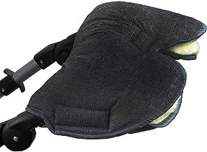 BAMBINIWELT universaler Muff Handwärmer Handschuh für Kinderwagen Kinderwagenhandschuh Buggy Jogger Wolle, meliert SCHWARZ XX