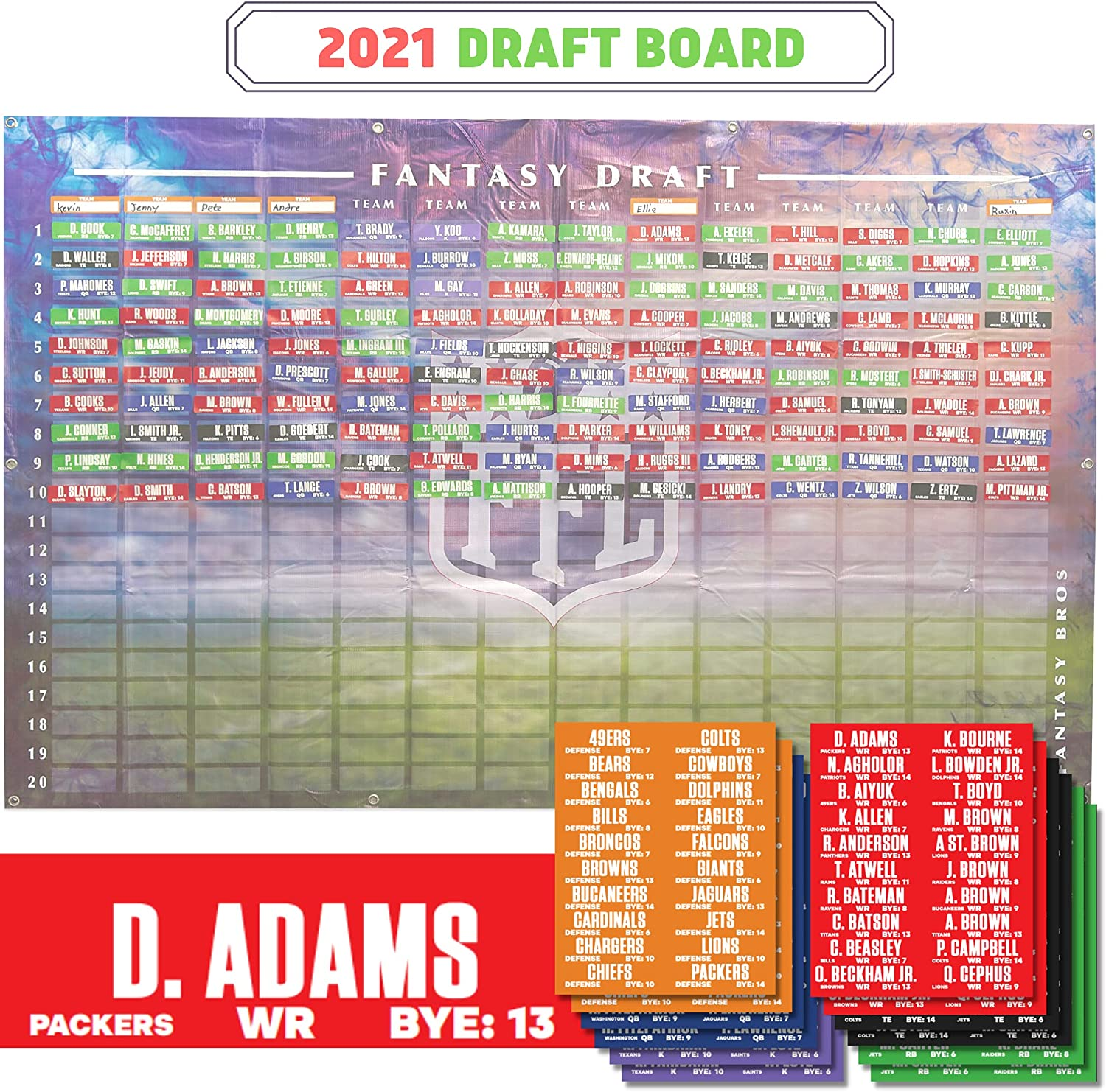X-Zone 2021 Fantasy Football Draft Player Max 78% OFF Labels with Draf Board Special Campaign
