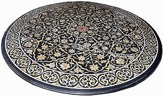 Mesa de comedor redonda de mármol negro con incrustaciones de piedras preciosas brillantes arte hermosa mirada sofá mesa p...