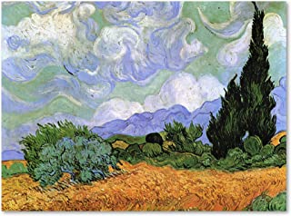Wheatfield with Cypresses, 1889 by Vincent van Gogh, 24x32-Inch Canvas Wall Art