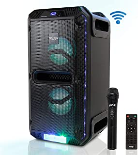 Portable Active PA Speaker System - 500W Outdoor Wireless Bluetooth Compatible Battery Powered Rechargeable Karaoke Sound Speaker Microphone Set w MP3 USB FM Radio Aux DJ LED Lights - Pyle PWMKRDJ89BT