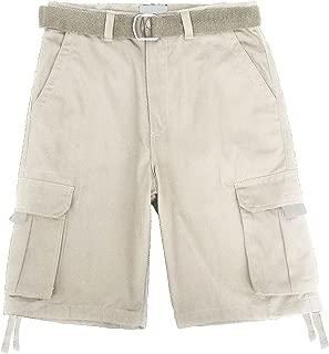 Mens Premium Twill Cargo Shorts with Belt Heavy-Duty Multi Utility Pocket Big and Tall