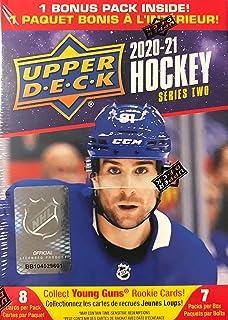 2020/21 Upper Deck Series 2 Hockey Blaster Box - 6 Packs Plus 1 Bonus Pack - 8 Cards Each - 1 Young Guns card per box on average