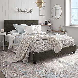DHP Carley Upholstered Bed, Queen, Gray Velvet