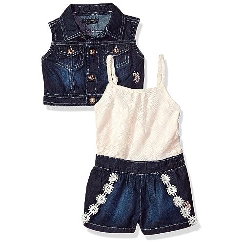 84395ab466713 U.S. Polo Assn. Baby Girls  Confetti Dots Denim Romper