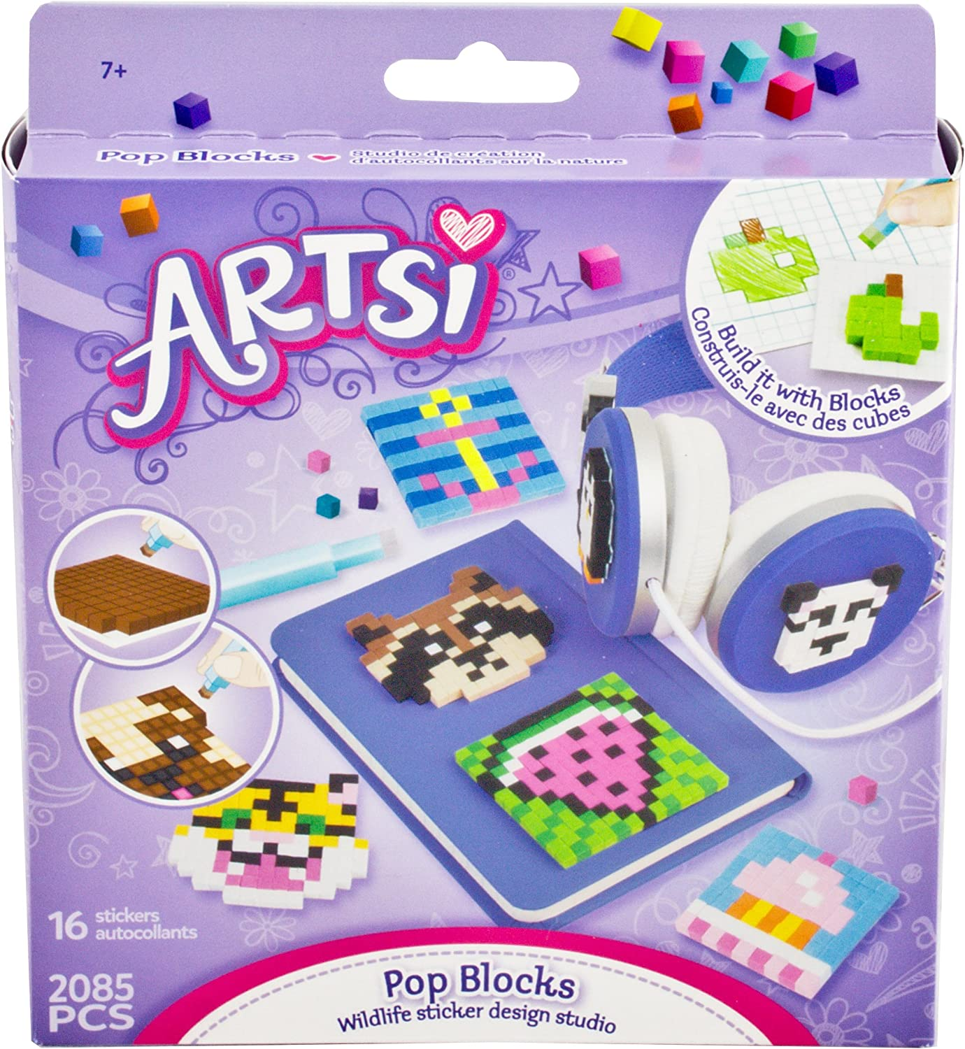 The Orb Factory Artsi Pop Blocks Wildlife Sticker Design Studio, 2085 Pieces -- Create 16 Stickers