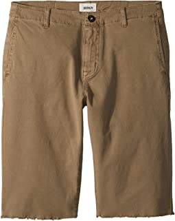 Raw Hem Sateen Chino Shorts in Dark Chino (Big Kids)