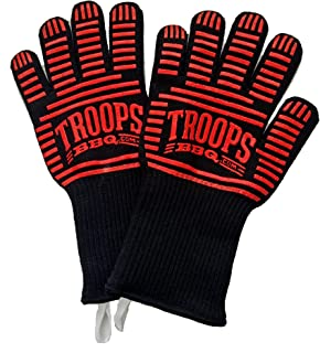 TROOPS BBQ 662°F Extreme Heat Resistant Grilling Gloves with Extra-Long Cuff for Barbecue & Oven (Pair) - Heat & Flame Resistant Kevlar & Silicone Insulated Protection to 662°F!